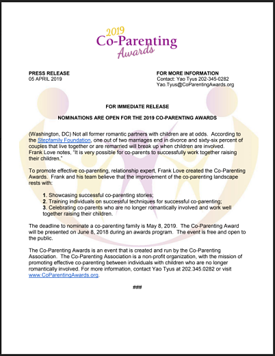 Co-Parenting Awards Press Release